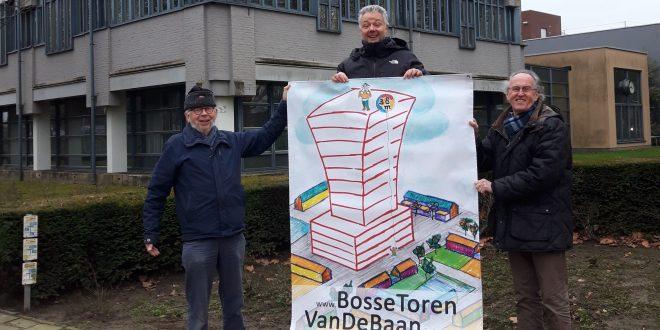 actievoerders houden spandoek op voor Rabobankgebouw