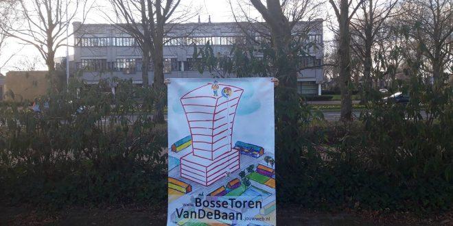 Bannier van werkgroep Bosse Toren Rabobank terrein